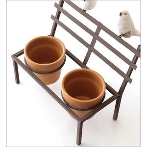 鉢カバー フラワーポット 陶器 小さい ミニ おしゃれ かわいい 多肉植物 サボテン 小物入れ インテリア 鳥 雑貨 小物収納 花台 2ポットonバードベンチ BR|gigiliving|04