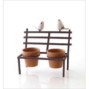 鉢カバー フラワーポット 陶器 小さい ミニ おしゃれ かわいい 多肉植物 サボテン 小物入れ インテリア 鳥 雑貨 小物収納 花台 2ポットonバードベンチ BR|gigiliving|05