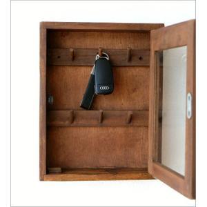 キーボックス 壁掛け 木製 インテリア おしゃれ レトロ アンティーク 鍵掛け 鍵かけ キーフック アクセサリーフック ガラス扉 ウッド壁掛ミニキーケース|gigiliving|04