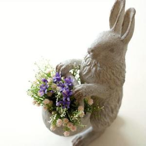 うさぎ ウサギ 雑貨 置物 置き物 かご オブジェ インテリア ラビットバスケット|gigiliving