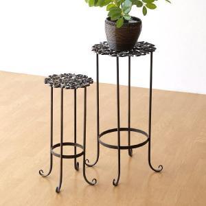 花台 フラワースタンド おしゃれ アイアン 鉢台 鉢スタンド アンティークゴールドのスタンド2サイズセット gigiliving