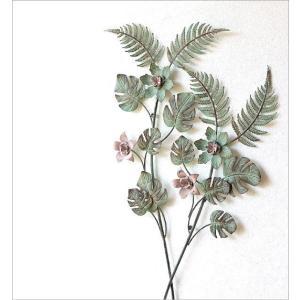 壁飾り アイアン 壁掛け インテリア おしゃれ ウォールデコ 植物 グリーン 壁面 装飾 ウォールパネル アートパネル アイアンの壁飾り ファーン&フラワー|gigiliving|02