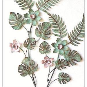 壁飾り アイアン 壁掛け インテリア おしゃれ ウォールデコ 植物 グリーン 壁面 装飾 ウォールパネル アートパネル アイアンの壁飾り ファーン&フラワー|gigiliving|03