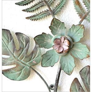 壁飾り アイアン 壁掛け インテリア おしゃれ ウォールデコ 植物 グリーン 壁面 装飾 ウォールパネル アートパネル アイアンの壁飾り ファーン&フラワー|gigiliving|04