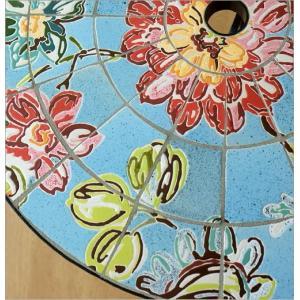 ガーデンテーブル タイル おしゃれ アイアン 鉄 円形 丸型 丸テーブル お庭 エクステリア ベランダ テラス ガーデンテーブル モザイクフラワー|gigiliving|03