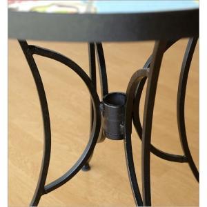 ガーデンテーブル タイル おしゃれ アイアン 鉄 円形 丸型 丸テーブル お庭 エクステリア ベランダ テラス ガーデンテーブル モザイクフラワー|gigiliving|04