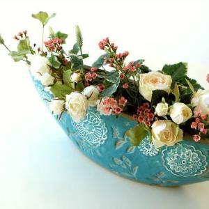 花瓶 花びん おしゃれ 口が広い デザイン フラワーベース 花器 陶器のベース ボルLB|gigiliving