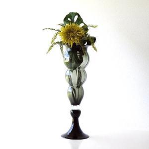 フラワーベース ガラス 花瓶 花びん おしゃれ モダン 大きい ガラスのトールベース B|gigiliving