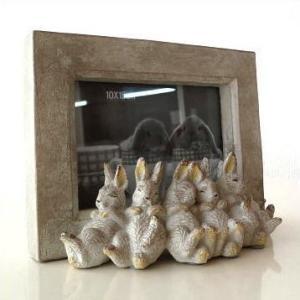 フォトフレーム 写真立て おしゃれ かわいい 可愛い シンプル アンティーク レトロ ウサギ 雑貨 オブジェ 横置き 結婚祝い お昼ねうさぎのフォトフレーム|gigiliving