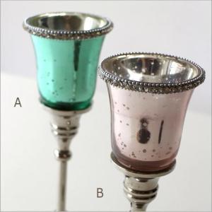 キャンドルホルダー ガラス LEDキャンドル付き 花瓶 花びん クリスタルベース 2カラー|gigiliving