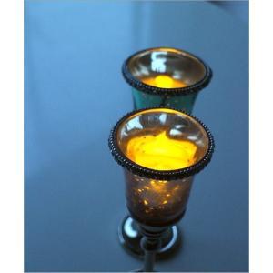 キャンドルホルダー ガラス LEDキャンドル付き 花瓶 花びん クリスタルベース 2カラー|gigiliving|02
