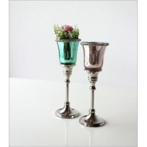 キャンドルホルダー ガラス LEDキャンドル付き 花瓶 花びん クリスタルベース 2カラー|gigiliving|06