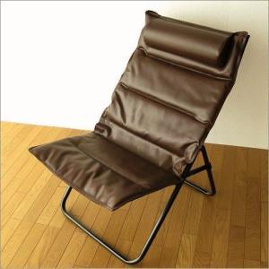 折りたたみ椅子 クッションチェアー アイアンとレザー折りたたみ椅子の写真