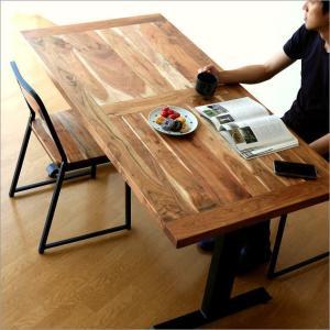 ダイニングテーブル 無垢 木製 天然木 アイアン おしゃれ カフェ 4人掛け 作業台 作業机 ナチュラル アンティーク 幅150 アイアンとウッドのダイニングテーブルの写真