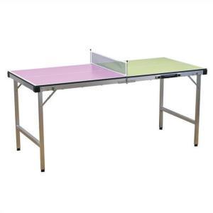 ピンクとライトグリーンの天板がお洒落な卓球台 半分に折りたたんである台を開いて足を出し 付属のネット...