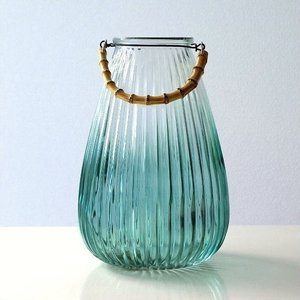 花瓶 花びん フラワーベース ガラス 竹 おしゃれ シンプル モダン 花器 ガラスベース バンブーハンドル付ガラスベース