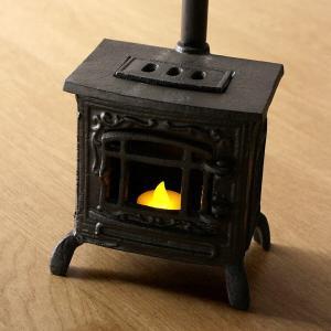 ストーブオブジェ LEDキャンドル付き ミニチュア 薪ストーブ風 雑貨 家具 煙突 暖炉 キャンドルライト 置物 レトロ LED付きミニチュアストーブのオブジェ gigiliving
