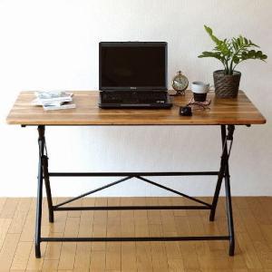 机 デスク テーブル 木製 おしゃれ シンプル 作業台 パソコンデスク アイアンとウッドの折りたたみテーブル L|gigiliving