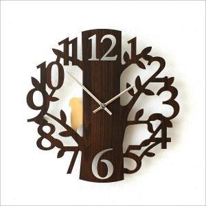 壁掛け時計 壁掛時計 掛け時計 掛時計 振り子 木製 おしゃれ ウォールクロック デザイン かわいい カフェ モダン 鳥 ブラウン 振り子壁掛時計 フォレスト