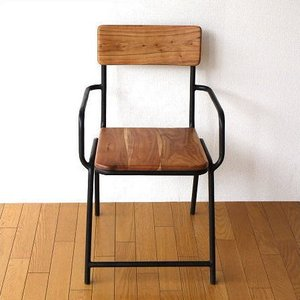 チェア 木製 椅子 イス いす ウッドチェア カフェチェア 一人掛け 一人用椅子 アイアンとウッドのチェアー|gigiliving
