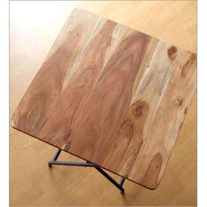 コンパクトテーブル 木製 60×60cm リビングテーブル コーヒーテーブル アイアンとウッドの折りたたみテーブル gigiliving 03