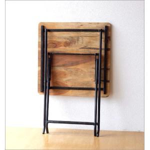 コンパクトテーブル 木製 60×60cm リビングテーブル コーヒーテーブル アイアンとウッドの折りたたみテーブル gigiliving 04