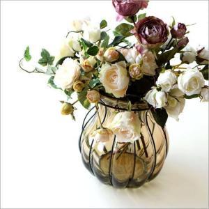 花瓶 花びん フラワーベース ガラス アイアン 大きい おしゃれ シンプル アンティーク レトロ 花器 玄関 インテリア アイアンとガラスのビッグベースA|gigiliving