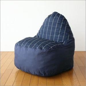 クッションソファー ソファ かわいい 防水加工 座椅子 ローソファー ポップソファー ネイビーチェック|gigiliving