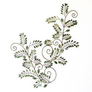 壁掛けインテリア 壁面飾り アイアン壁飾り グリーンリーフ B 2枚セット|gigiliving