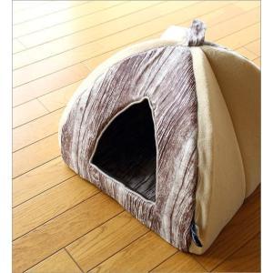 ペットハウス ドーム型 室内 犬 猫 家 おしゃれ かわいい あったか クッション 木目調 ふんわりペットドーム|gigiliving|02