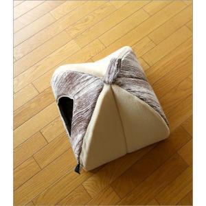 ペットハウス ドーム型 室内 犬 猫 家 おしゃれ かわいい あったか クッション 木目調 ふんわりペットドーム|gigiliving|05
