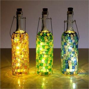 インテリアランプ モザイクガラス 照明 ライト かわいい 可愛い おしゃれ 卓上 テーブルランプ カラフル  アンティーク LEDモザイクボトル ブロック3カラー
