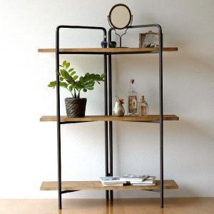 飾り棚 飾棚 ディスプレイラック おしゃれ 木製 3段 オープンシェルフ シンプル アイアンとウッドのスリムシェルフ|gigiliving