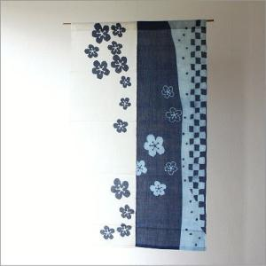 のれん 暖簾 おしゃれ 和風 和柄 間仕切りカーテン 目隠し 麻100% 幅85×高さ150cm のれん 花市松|gigiliving