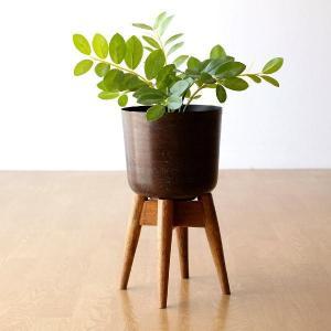 鉢カバー おしゃれ プランターカバー アイアン 木製 天然木 花台 フラワースタンド ウッドスタンド付きアイアン鉢カバーB