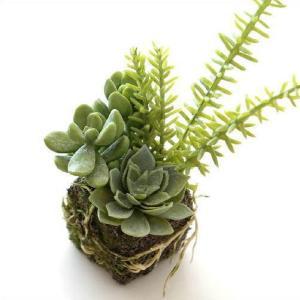 フェイクグリーン 多肉植物 ミニ 小さい インテリア おしゃれ 苔玉 人工観葉植物 フェイクな多肉の苔球 A|gigiliving