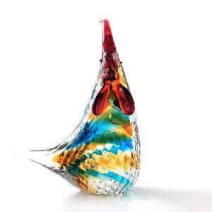 カラフルな姿のガラスの鶏さん 赤い鶏冠の可愛い姿です  手のひらに乗るくらいの大きさで ペーパーウェ...