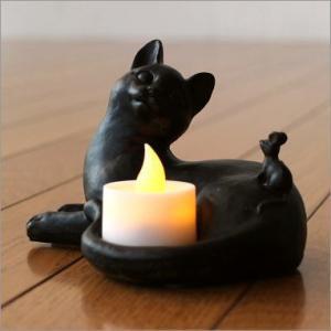 猫 ねこ 雑貨 置物 置き物 オブジェ ネコのLEDキャンドルホルダー|gigiliving