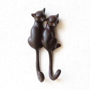 フック 壁 壁掛けフック ウォールフック おしゃれ 猫 雑貨 グッズ 鍵かけ 玄関 収納 ウォールハンガー 壁掛け インテリア ウォールデコ ペアネコのフック|gigiliving