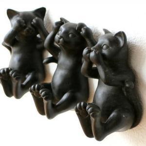 ネコ ねこ 猫 雑貨 オブジェ 壁掛けフック 壁掛け インテリア ウォールデコ 三様ネコフック 3個セット|gigiliving