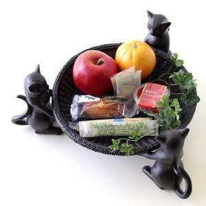 猫 雑貨 フルーツトレイ トレー ネコのラウンドコンテナー...