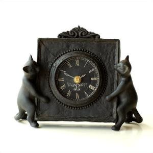 置き時計 置時計 おしゃれ レトロ かわいい 猫 ねこ 雑貨 アンティークな時計とネコさん|gigiliving