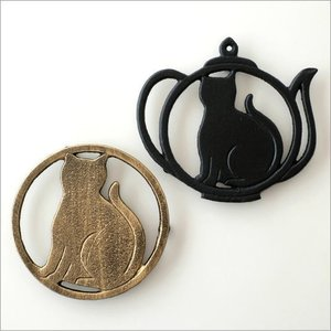 鍋敷き 鍋しき おしゃれ 猫 ねこ 雑貨 アイアンネコの鍋しき 2タイプ|gigiliving