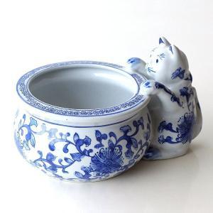 藍色の花模様の 陶器のネコ付き鉢ポットです  水生植物や 花やグリーンのポットを入れて。  小物入れ...