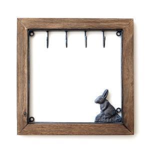 フック 壁 キーフック 鍵掛け 壁掛け 壁飾り アイアン 木製 ウサギ 雑貨 壁掛け インテリア アンティーク おしゃれ アイアンとウッドのキーフック ウサギ|gigiliving