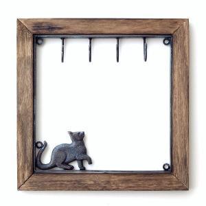 鍵掛け キーフック おしゃれ 壁掛け 玄関 かわいい 収納 ウォールラック 棚 モダン インテリア シンプル アイアンとウッドのキーフック ネコ|gigiliving