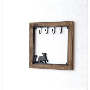 鍵掛け キーフック おしゃれ 壁掛け 玄関 かわいい 収納 ウォールラック 棚 モダン インテリア シンプル アイアンとウッドのキーフック ネコ gigiliving 02