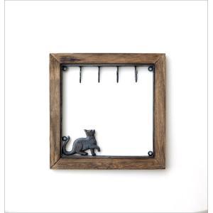 鍵掛け キーフック おしゃれ 壁掛け 玄関 かわいい 収納 ウォールラック 棚 モダン インテリア シンプル アイアンとウッドのキーフック ネコ gigiliving 05