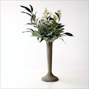フェイクグリーン セット 人工観葉植物 造花 おしゃれ インテリア レトロ アンティーク ブロカント シャビーなベース付きアレンジ エーデルワイス&オリーブ