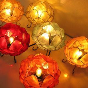 アジアン 照明 インテリアランプ 卓上スタンドライト テーブルランプ 間接照明 カピスロータスランプ L|gigiliving